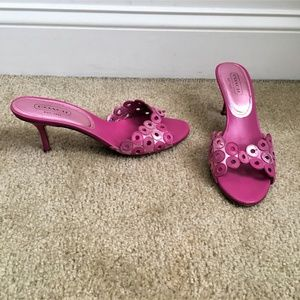 COACH Pink Circle Detail Blane Slide Sandals 9.5B